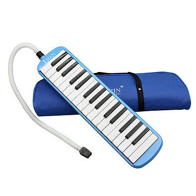 32 Keys & Mouthpiece Plastic Melodica Reed Keyboard Harmonica With Bag Blue