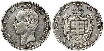 """Greece 1875 George A' 5 Drachma """"Reversed Anchor"""" NGC Details XF"""