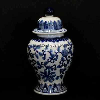 Ginger Jar Blue and White, 30cm, Lotus Temple Jar, Porcelain Vase with Lid,