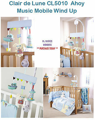 Clair de Lune CL5010 - Ahoy Music Mobile Wind Up Cot / Cot Bed Baby Boys Toy