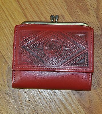 Vintage Amity Ladies Wallet with Coin Purse Red Embossed Cowhide NEW w Inserts