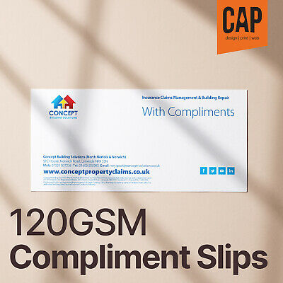 Compliment Slips From £14 • Great For Marketing • Personalised With Company Info