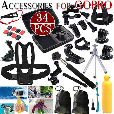 64 in 1 Head Chest Mount Floating Monopod Accessories Kit For GoPro 2 3 4 Camera