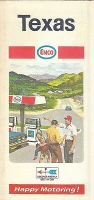 1969 ENCO HUMBLE OIL Road Map TEXAS San Antonio Houston Austin Galveston Dallas