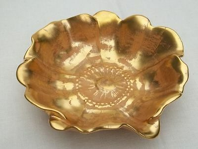 Vintage Man Made Stangl 22KG Hand Painted Granada Gold Flower Peddle Dish