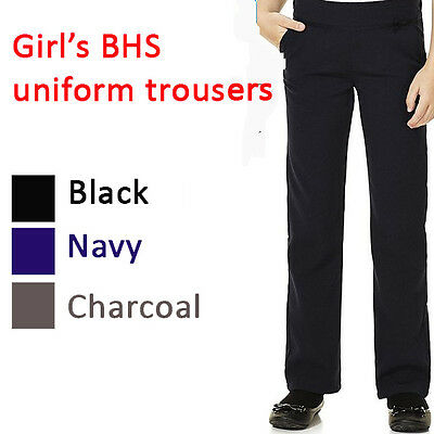 Girls School Trousers Ex BHS Sizes 4-12 Black,Navy,Charcoal (grey)