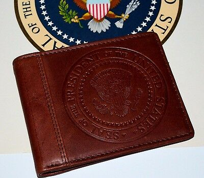 Obama Presidential Seal Leather Wallet~Highest Quality Soft Milled Brown Leather