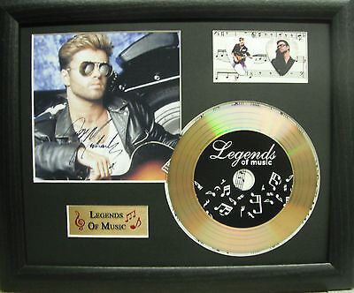 George Michael Preprinted Autograph, Gold Disc & Plectrum Presentation
