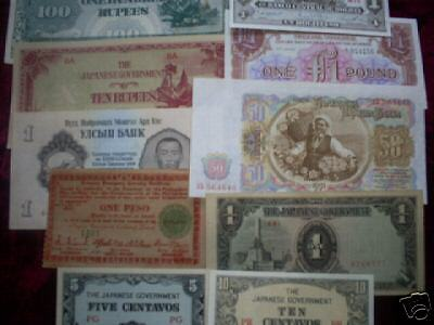 10 diff. old 1959 & before world paper money circ.-Unc.