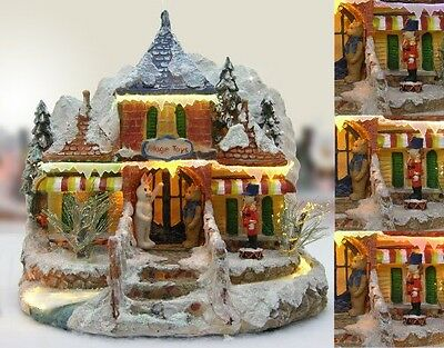 Banberry Designs Christmas Snow Village Toy Store with Fiber Optic and LED