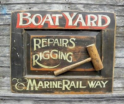 Boat Yard Sign vintage looking hand painted art old mallet tool shipyard boating