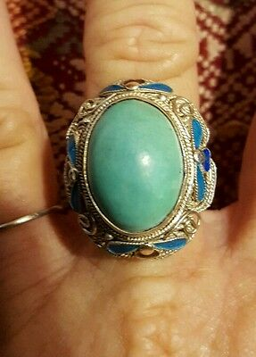 Chinese turquoise cloisanne filigree sterling silver ring