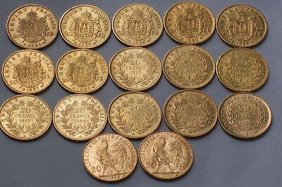 Lot De 17 Tres Belles Pieces De 20 Francs En Or Naoleon Tn Et Tl + Genie + Coq