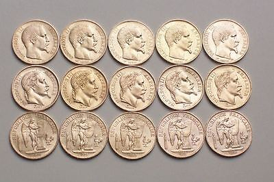 Lot De 15 Tres Belles Pieces De 20 Francs En Or Napoleon Tn Et Tl + Genie