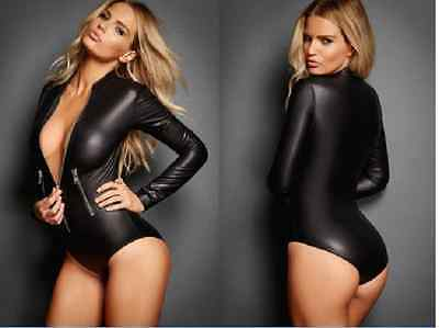 Leather Long Sleeved Zip Detailed Bodysuit - 8,10,12,14