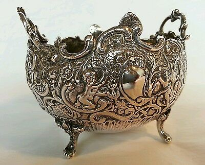 A continental silver bowl.Possibly Hanau Germany.Decorated with Putti / cherubs
