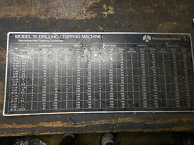 Delta Rockwell Model 15 Tapping Drill Press Machine Side Chart Tapper