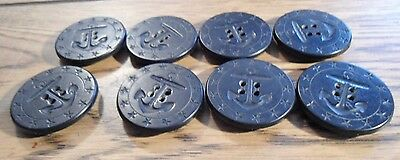 """8 large 1 3/8"""" BUTTONS 13 STAR WWI US Navy AHRC HP PEACOAT Black Anchor & Rope"""