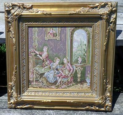 Vintage French Tapestry Gilded Wooden Frame IT903