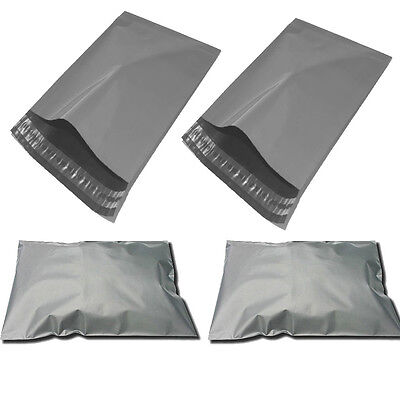 500 X Strong Grey Plastic Mailing Post Poly Postage Bags with Self Seal 14 x21""