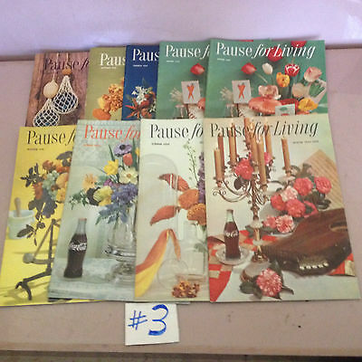 "Lot Of 9 ""pause For Living"" Coca Cola Booklets 1959-1960"