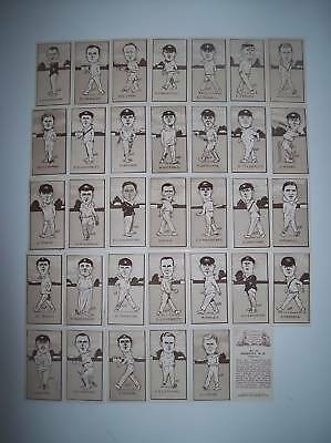 R & J Hill Caricatures Of Famous Cricketers 5 Cards In V Good Condition