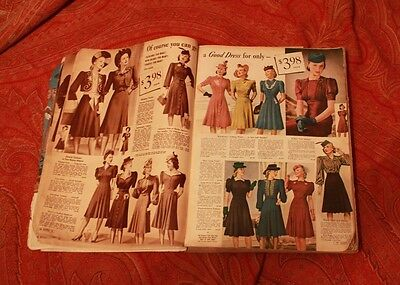 Vintage Collectible 1940 Montgomery Ward Fall Winter Catalog Clothes Household
