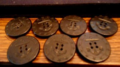 """7 large 1 3/8"""" BUTTONS 13 STAR WWI US Navy AHRC HP PEACOAT Black Anchor & Rope"""