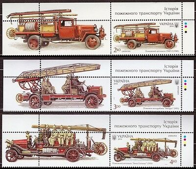 UKRAINE 2016 LOT SET 3 STAMP FIRE FIGHTING VEHICLES * Old Fire Cars Truck Rescue
