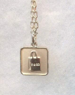 64013937add Authentic Tiffany & Co Silver Lexicon Square Shopping Gift Bag Charm With  Chain