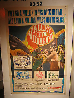Valley of the Dragons Original 1sh Movie Poster '61 dinosaurs & giant spiders