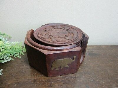 6 Vtg hand carved wood bar drink coasters.Brass elephant on holder.Made in India