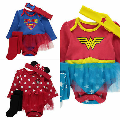 Wonder Woman Supergirl Minnie Mouse Fancy Dress Baby Girl Tutu Babygrow Romper