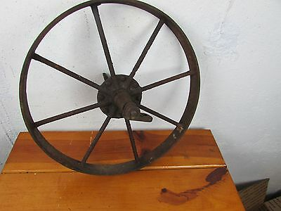 "WHEELBARROW WHEEL ANTIQUE PRIMITIVE CAST IRON  CART  15 1/2"" Great Farm Decor"