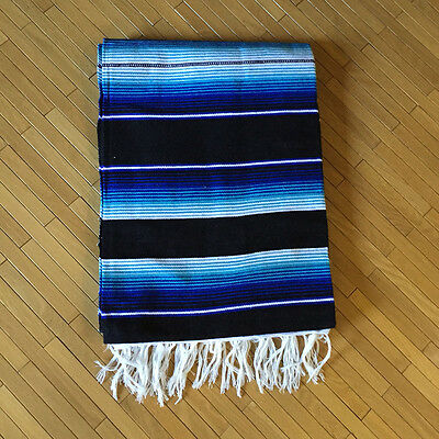 Mexican Serape Blanket Yoga Colorful Traditional Blue