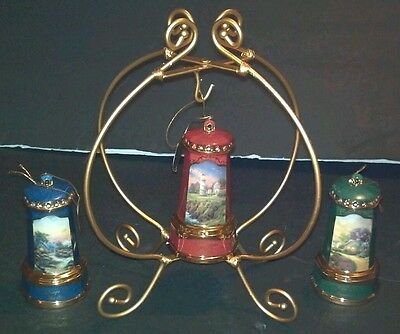 Thomas Kinkade Christmas Lighthouse Ornaments Lot of 3 & Pier 1 Ornament Holder