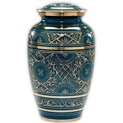 Blue Brass Adult Funeral Urn Cremation Urn Azure Finish Free Shipping