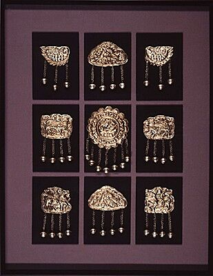 Nine Miao Silver Necklaces framed Chinese contemporary art