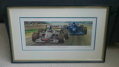 Ross Wardle Signed Formula One print, F1 Mika Hakkinen McLaren Mercedes.