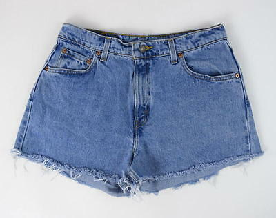 "Vintage 90s LEVIS Frayed Blue Denim Jean Wide Leg Cut Off Shorts 30"" High Waist"