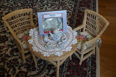 VTG. Decorated w/ Tiny Flowers Porcelain 9 pcs.Tea Set for Dolls or Displays NEW