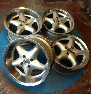 "16"" Postert deep dish alloy wheels 4x100 with 9J rears! BMW E30 VW Golf Polo DuB"