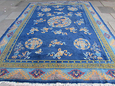 Shabby Chic Antique Hand Made Art Deco Chinese Oriental Carpet Blue Wool 353x279