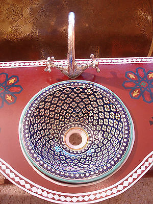 Moroccan blue small hand painted ceramic shiny round sink wash basin