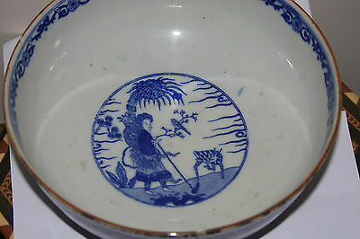 Antique Japanese Blue And White Meiji Period Large Bowl