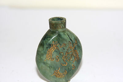 Chinese Spinach Green Jade Snuff Bottle Dragon Carved