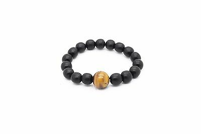 Natural Ebony wood and Tiger's Eye hand made Lucky Health beads bracelet