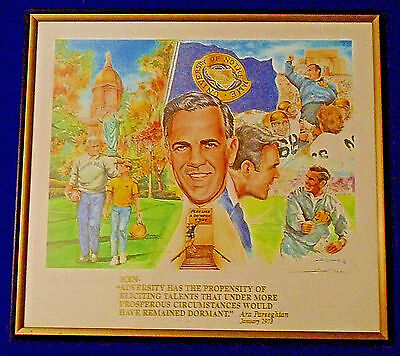 Ara Parseghian Notre Dame Signed Autographed Litho, Limited Edition 129 Of 500
