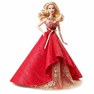 NEW! Barbie Collector 2014 BLOND Holiday Christmas Doll, by Mattel Red Dress