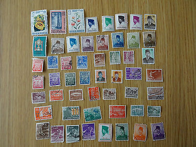 Stamps Indonesia   52 All Different   Off Paper